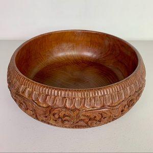 Vintage Hand Carved Large Wooden Serving Bowl